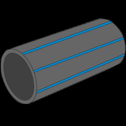 Tube PE100 RC HYDRO Pression noir à bandes bleues SDR17 - S8 - PN10 - Ø125