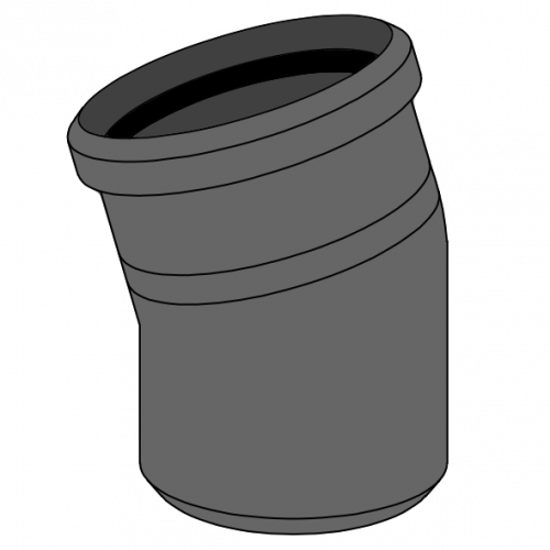 Coude HDPE manchonné avec emboîtement et joint incorporé Ø125 Angle 15°
