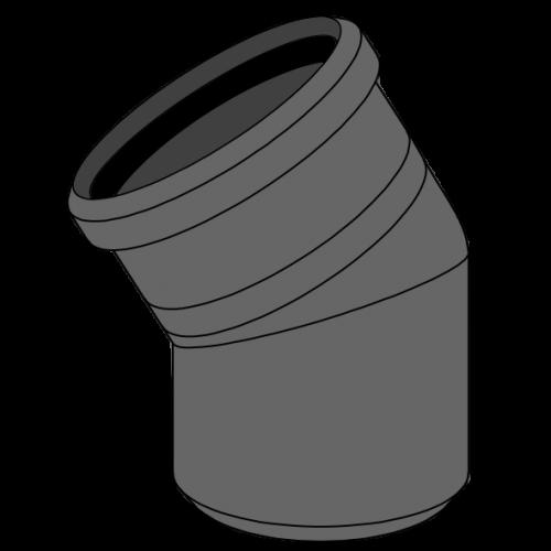 Coude HDPE manchonné avec emboîtement et joint incorporé Ø125 Angle 30°