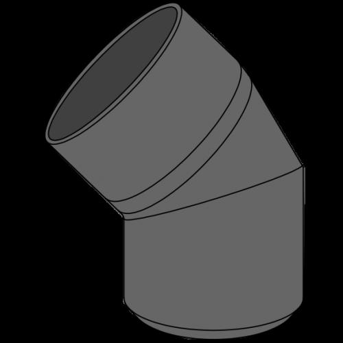 Coude HDPE à extrémité lisse Ø125 Angle 45°