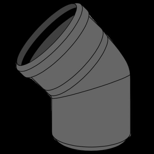 Coude HDPE manchonné avec emboîtement et joint incorporé Ø125 Angle 45°