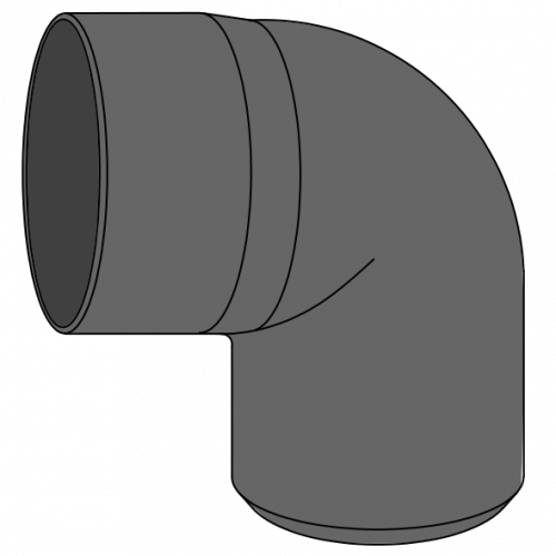 Coude HDPE à extrémité lisse Ø125 Angle 87°