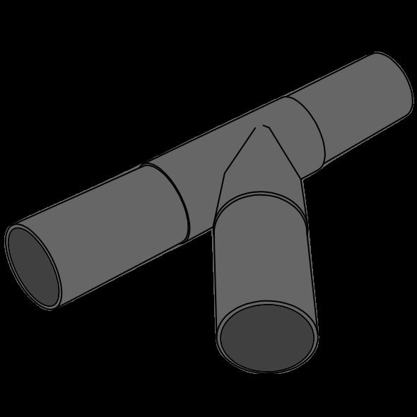 Embranchement HDPE 45° à extrémité lisse Øtraversée 110 Ødépart 110
