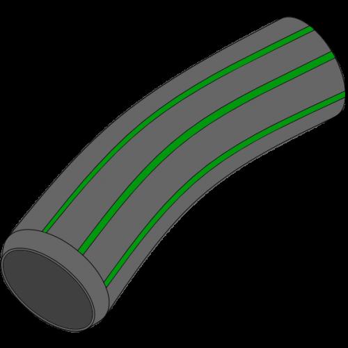 Couronne PEPC LDPE Ø59,3 x 49,3 - noire à bandes vertes avec ficelle de tirage 50m