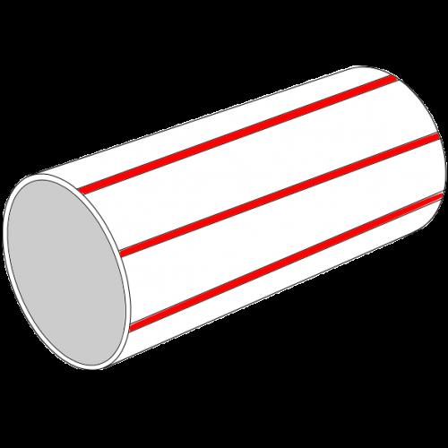 Tube lisse LDPE C+S recyclé BLANC à bandes rouges SN4 - Ø100/112 Lg 5m