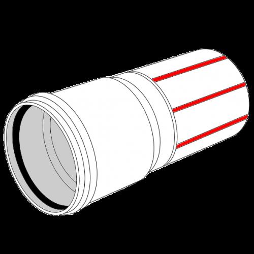 Tube manchonné LDPE C+S recyclé BLANC à bandes rouges SN4 - Ø100/112 Lg 10m