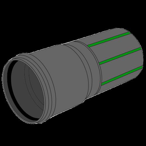 Tube manchonné LDPE C+S recyclé NOIR à bandes vertes SN4 - Ø100/112 Lg 10m