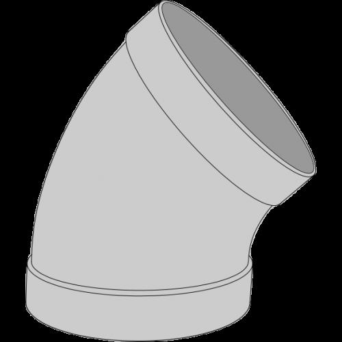 Coude PPs pré-manchonné Ø110 45°