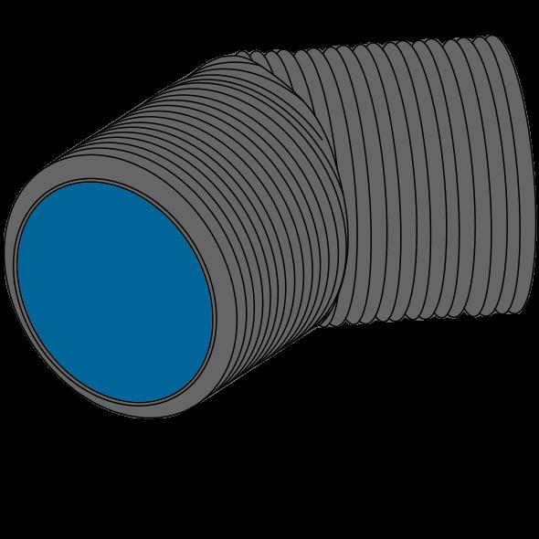 Coude PEHD SDR33/SN2 à extrémités lisses DN1000 SGK Angle 1 - 45°