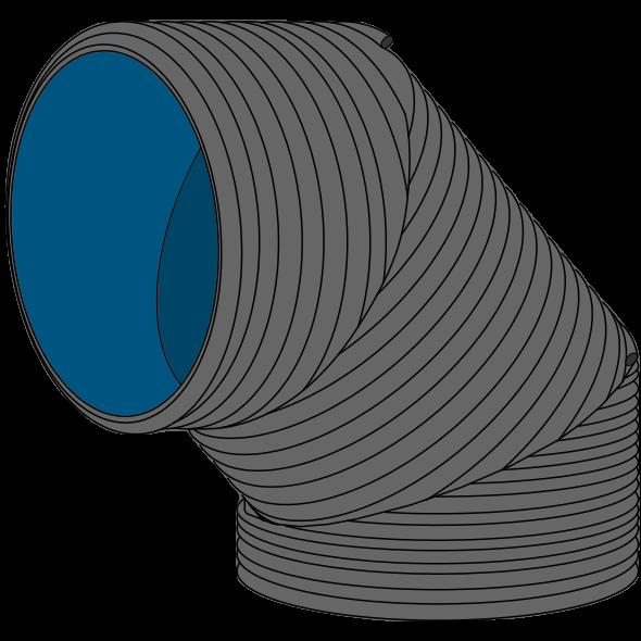 Coude PEHD SDR33/SN2 à extrémités lisses DN1500 SGK Angle 46 - 90°