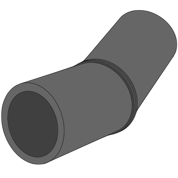Coude PEHD SDR33/SN2 à extrémités lisses Ø250 Angle 1 - 45°